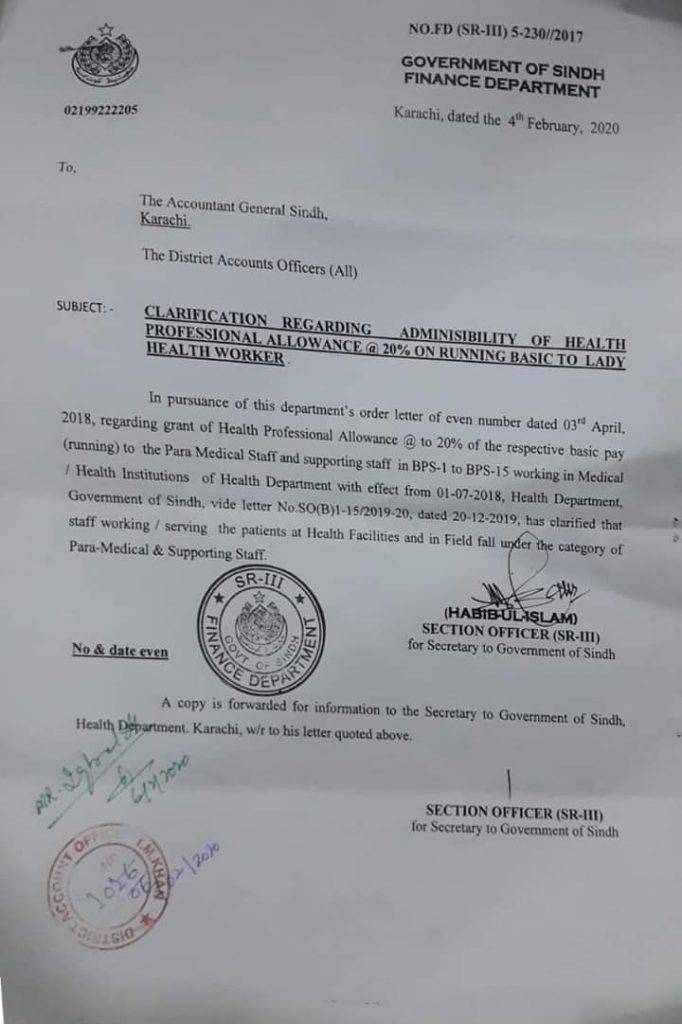 Clarification regarding Health Professional Allowance @ 20% on Running Basic