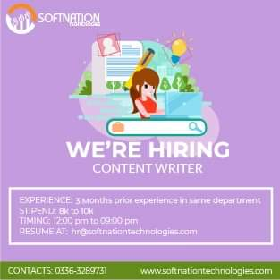 Content Writer Jobs for Softnation Technologies