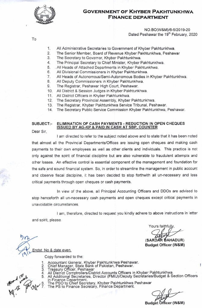 Elimination of Open Cheques and Cash Payments in KPK