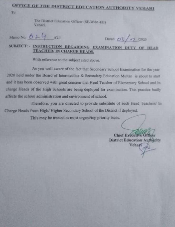Exam Duty Instruction of Head Teachers In-Charge Heads