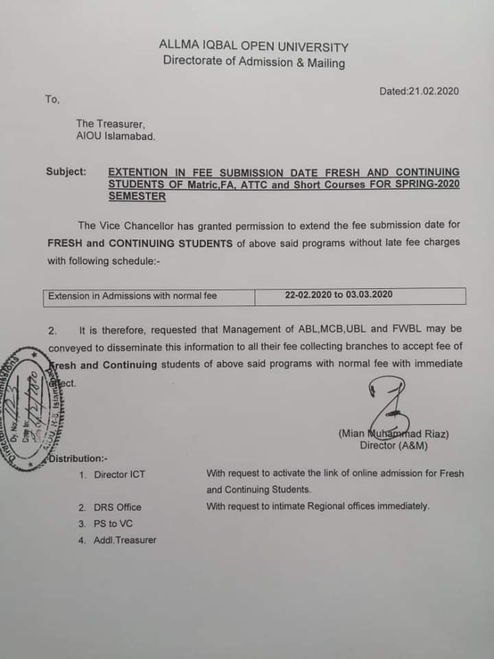 Extension in Fee Submission Date AIOU 2020