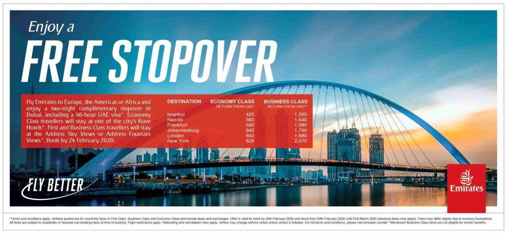 Free Emirates Dubai Stopover Package 2020