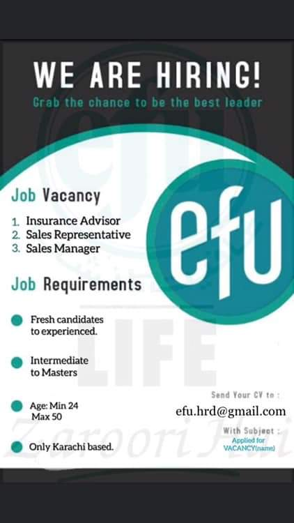 Insurance Advisor, Sales Representative, Sales Manager Jobs for EFU Life
