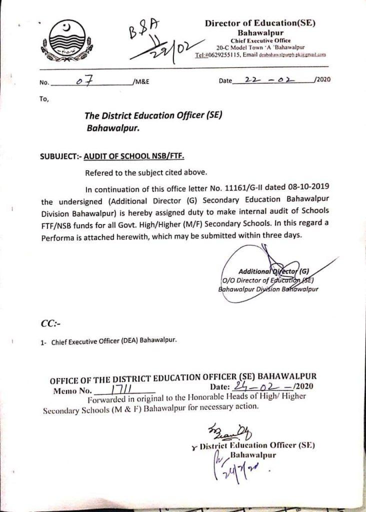 Notification of Audit of School NSBFTF