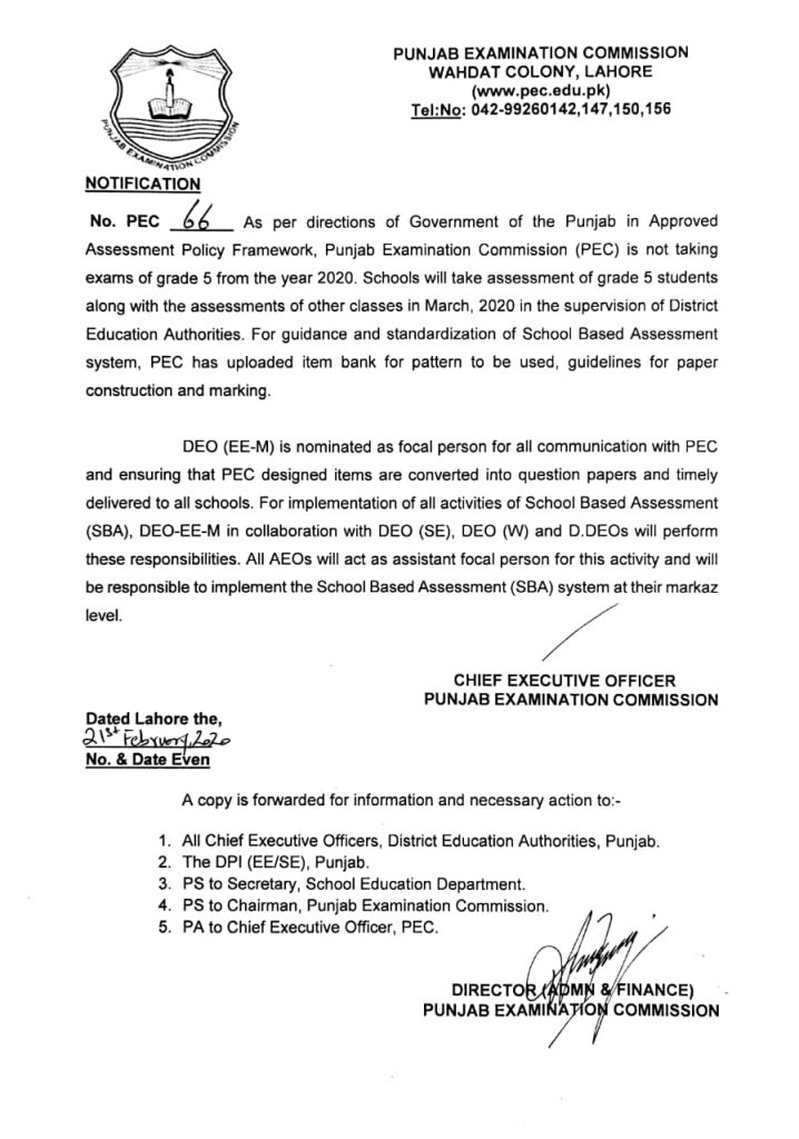 PEC is not Taking Exams of Grade-5 from Year 2020