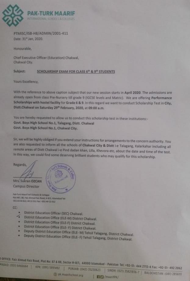 Pak-Turk Maarif Scholarship Exam for Grade-6th & 9th Students 2020