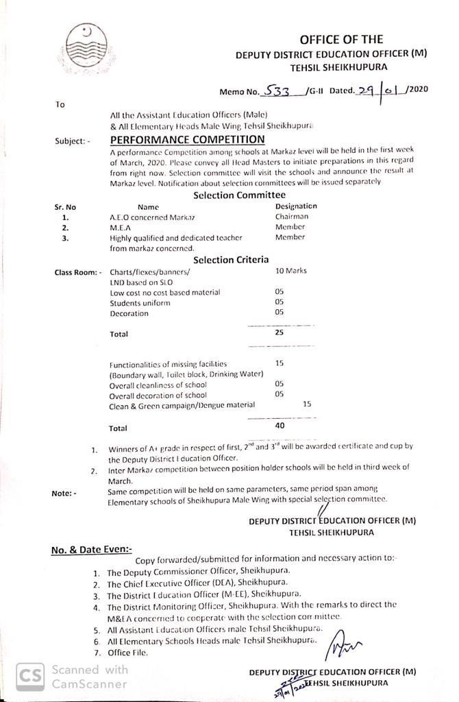 Performance Competition Between Schools