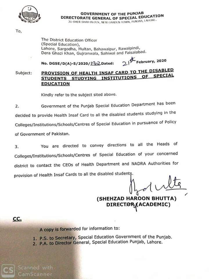 Provision of Health Insaf Card to Disabled Students