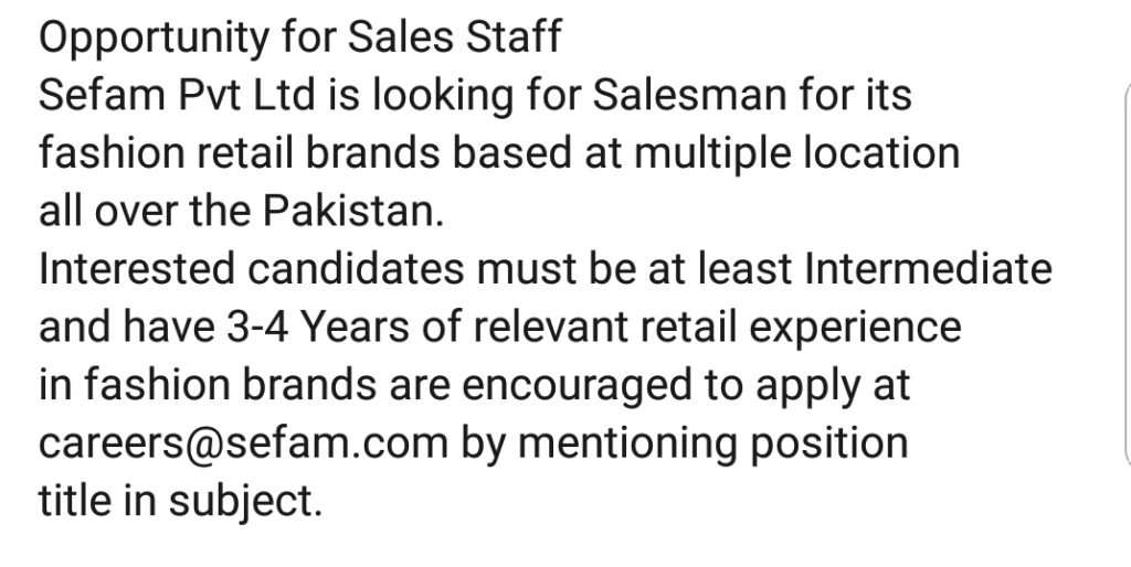 Sales Staff Jobs for Sefam Pvt Ltd