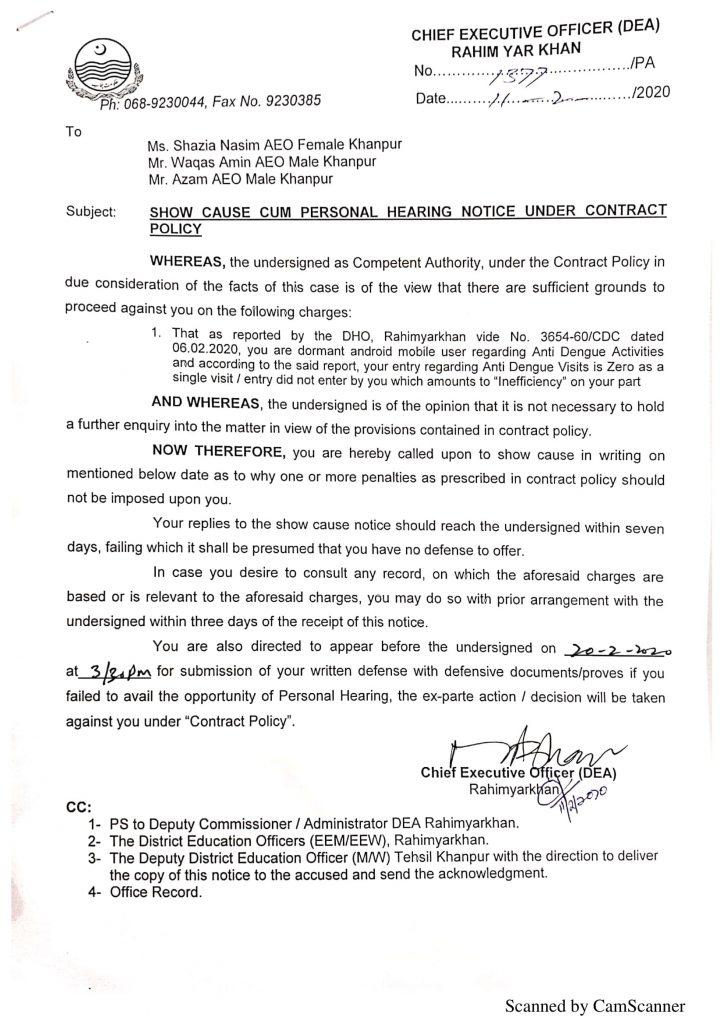 Show Cause Notice on Anti Dengue Visits is Zero