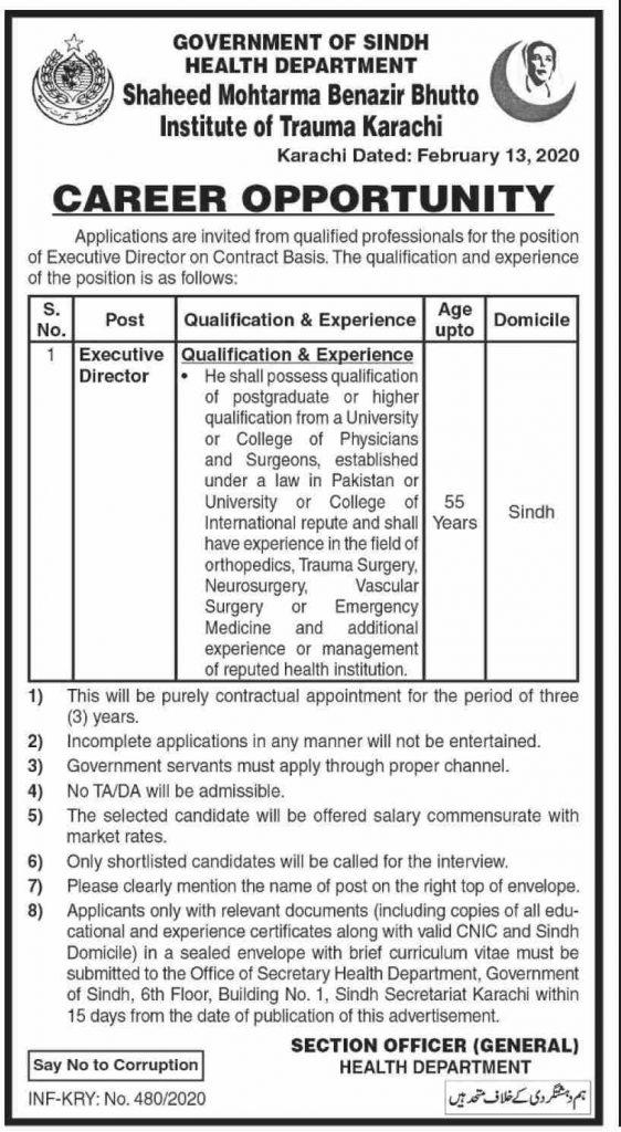 Sindh Govt Jobs in Health Department 2020 Latest
