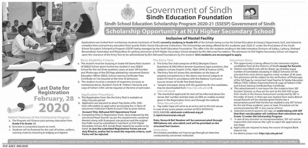 Sindh School Education Scholarship Program 2020-21 Latest