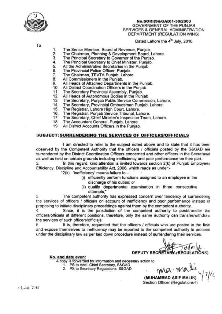 Surrendering the Services of Officers & Officials