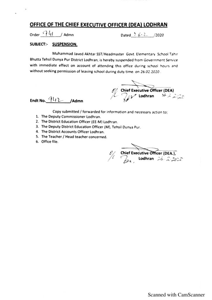 Suspension of Headmaster without Seeking Permission of Short Leave