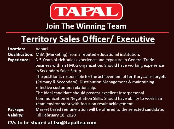 Territory Sales OfficerExecutive Jobs TAPAL
