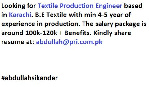 Textile Production Engineer Jobs in Karachi 2020
