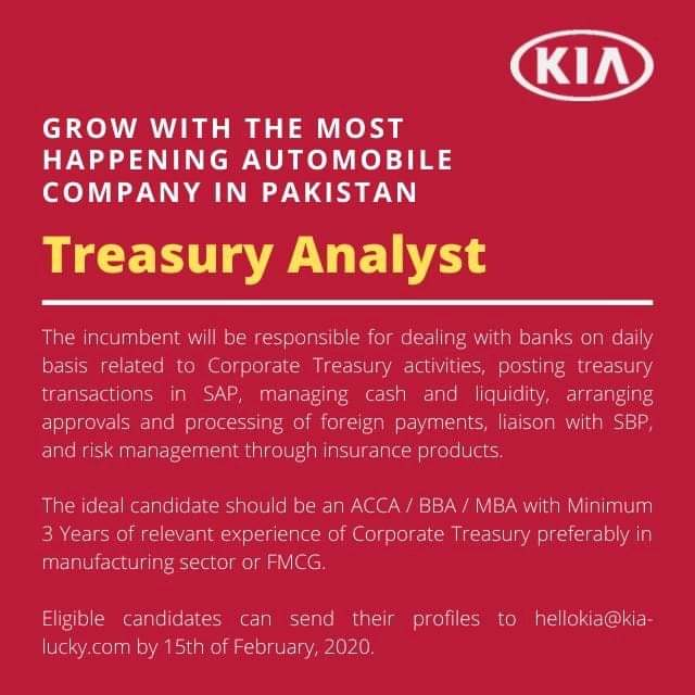Treasury Analyst Jobs 2020 KIA