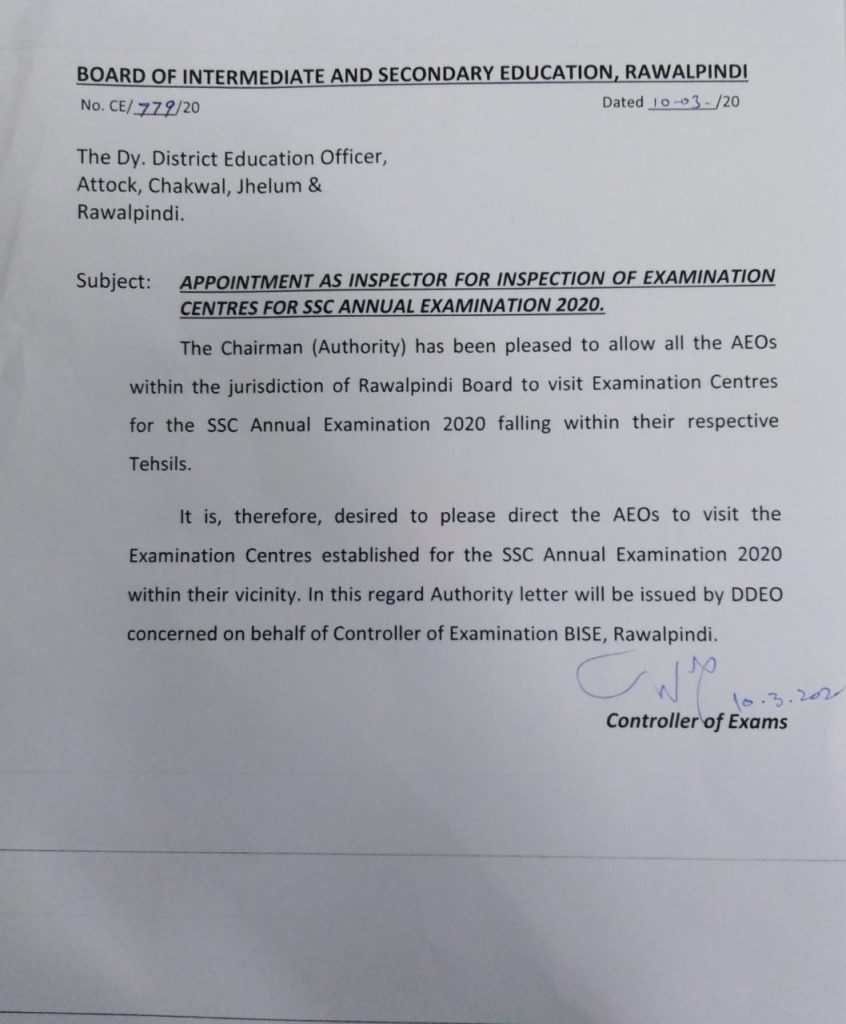 Appointment as Inspector for Examination Centres of SSC Annual Examination 2020