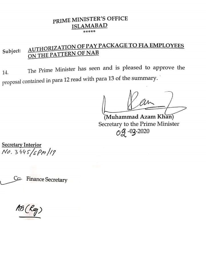 Authorization of Pay Package to FIA Employees 2020