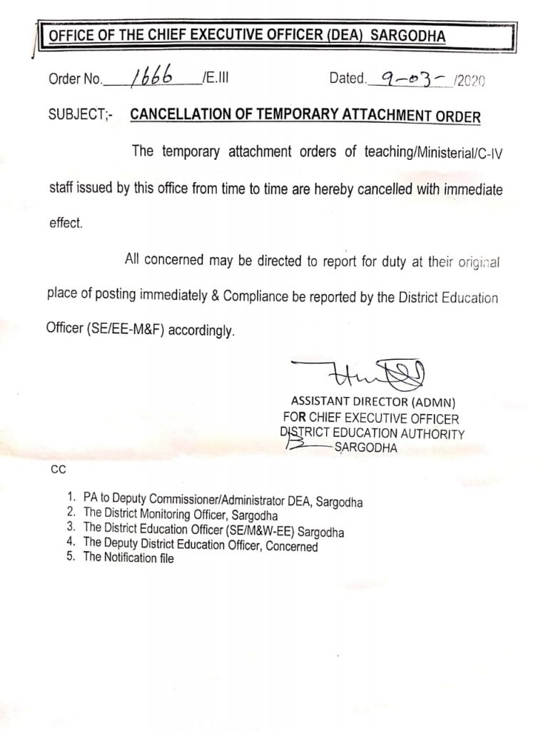Cancellation of Temporary Attachment Order