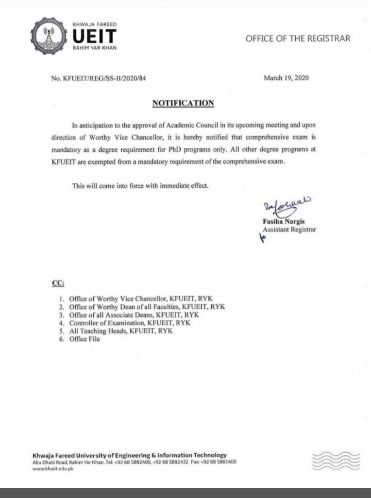 Comprehensive Exam is Mandatory for PhD Programs KFUEIT