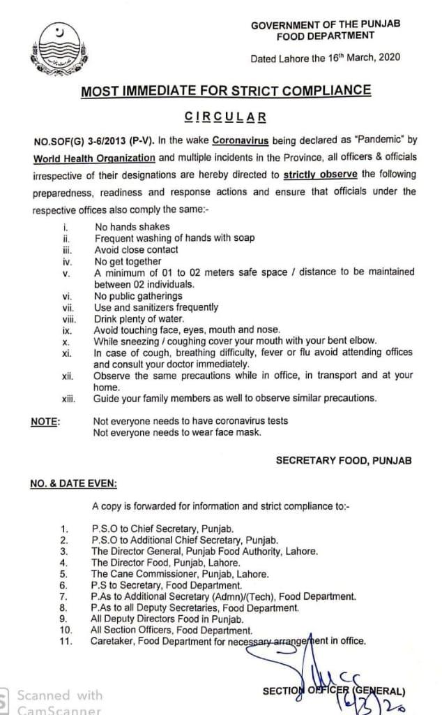 CoronaVirus Precautions to Officers & Officials Food Department Punjab