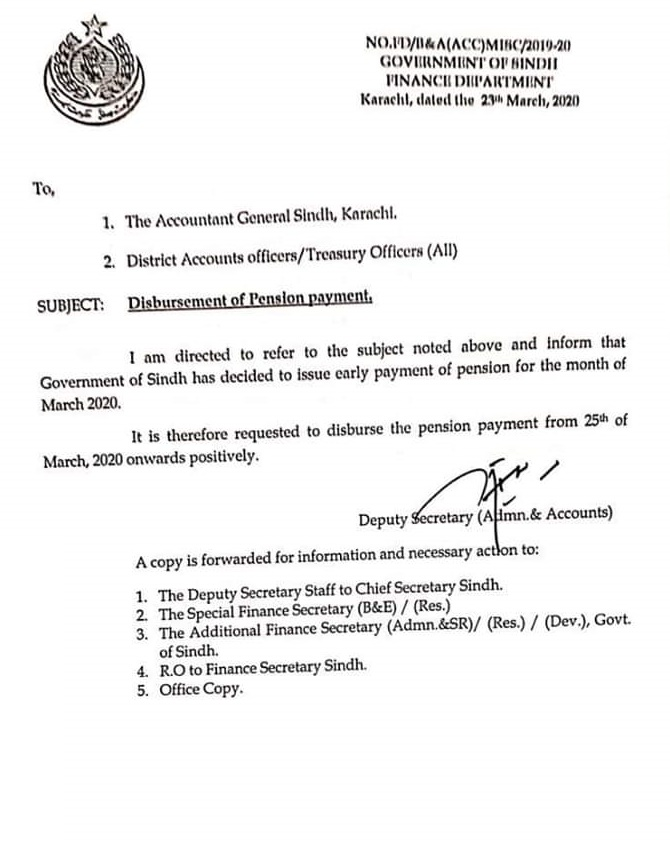 Disbursement of Pension March 2020 Sindh