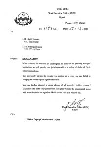 Explanation to Private Institutions in Violation of Govt Instructions