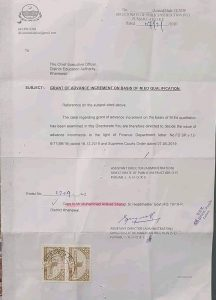 Grant of Advance Increment on Basis of M.Ed Qualification
