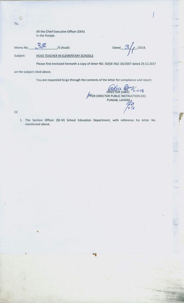Notification of Head Teachers in Elementary Schools