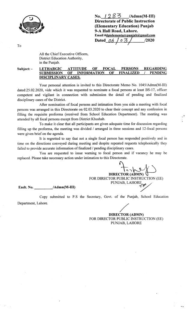 Notification of Lethargic Attitude of Focal Persons