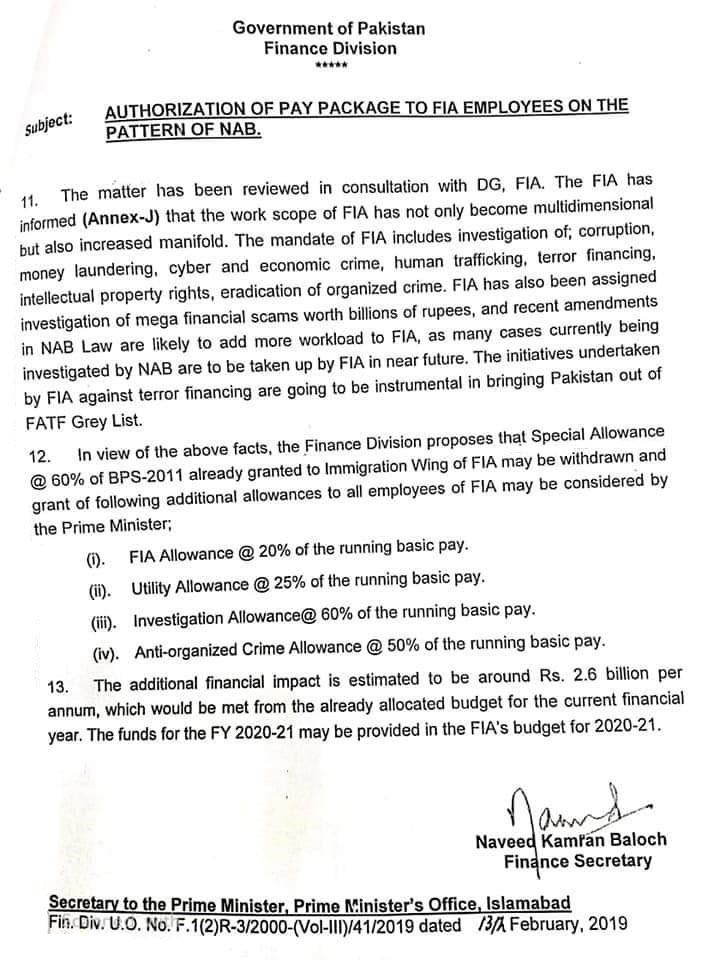 Notification of Pay Package to FIA Employees on the Pattern of NAB