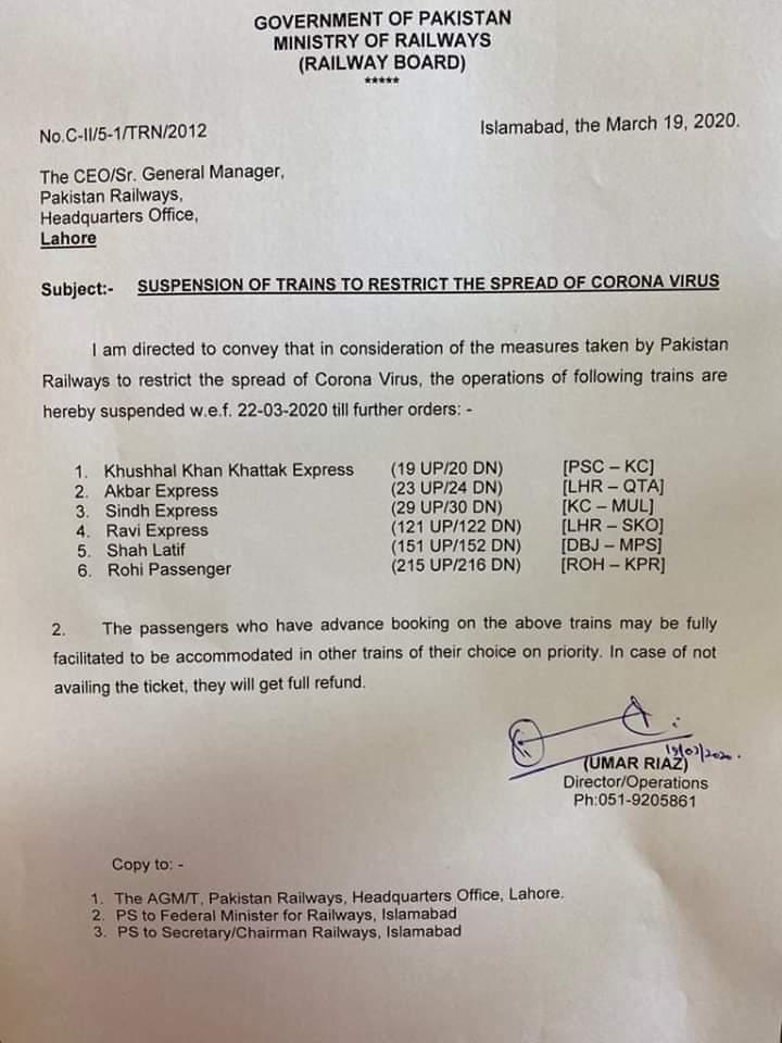 Notification of Suspension of Trains Due to Spread of CoronaVirus