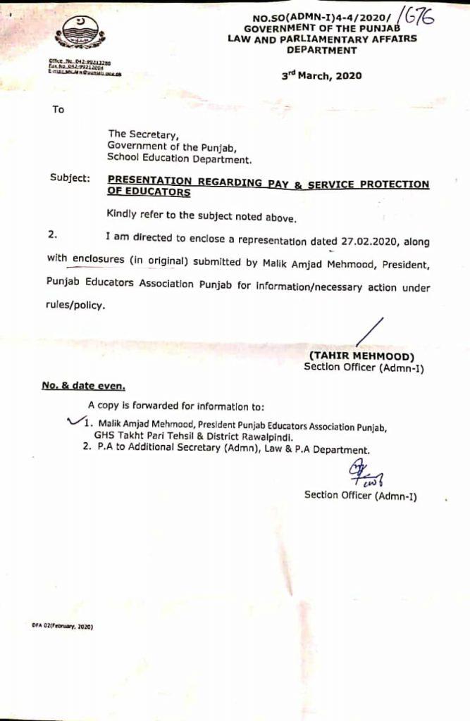 Presentation regarding Pay & Service Protection of Educators