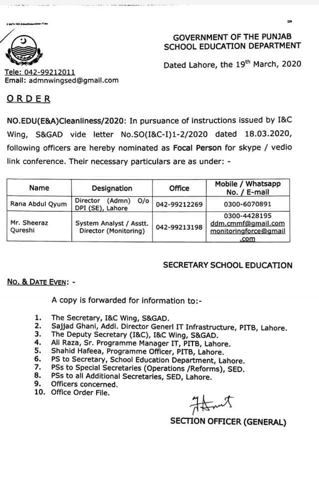 School Education Department Nominate Focal Person for Skype Video Link Conference