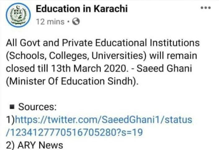 Sindh Govt Extended Public Holidays Till 13th March