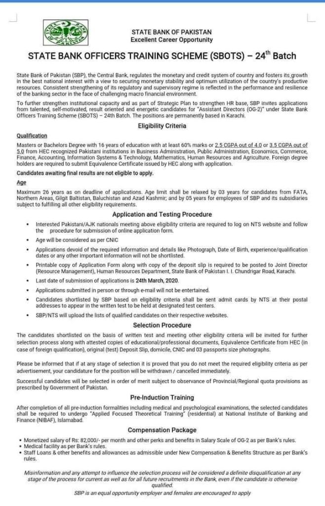 State Bank Officers Training Scheme 24th Batch 2020 SBOTS