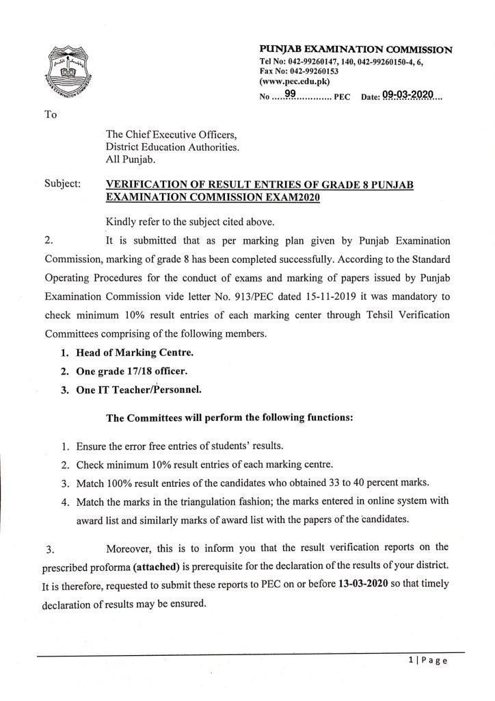 Verification of Result Entries of Grade-8 PEC Exam 2020