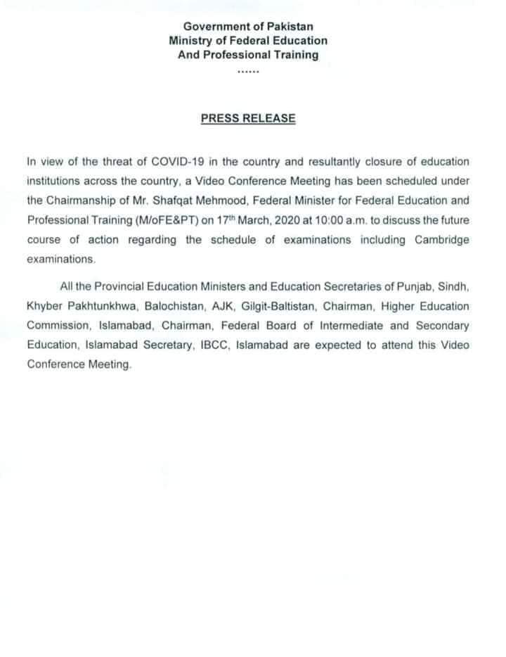 Video Conference Meeting Regarding Closure of Educational Institutions Due to CoronaVirus