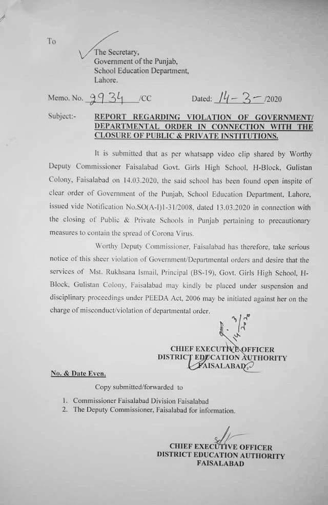 Violation of Govt Order Regarding Closure of Public & Private Institutions
