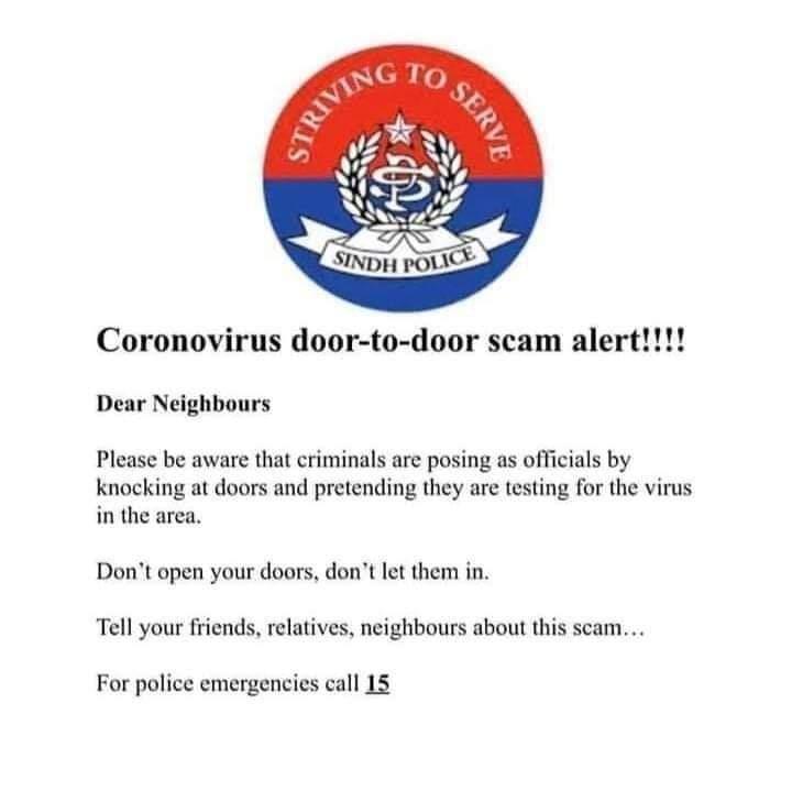 CoronaVirus Door-To-Door Scam Alert