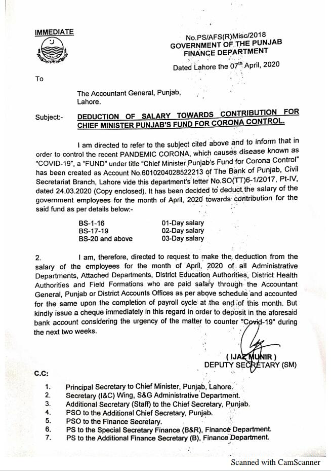 Deduction of Salary for Chief Minister Punjab Fund for Corona Control