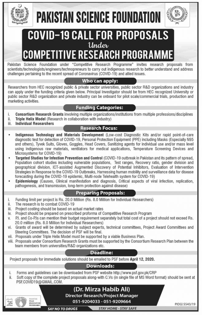 Pakistan Science Foundation Call for Proposals 2020 Covid-19