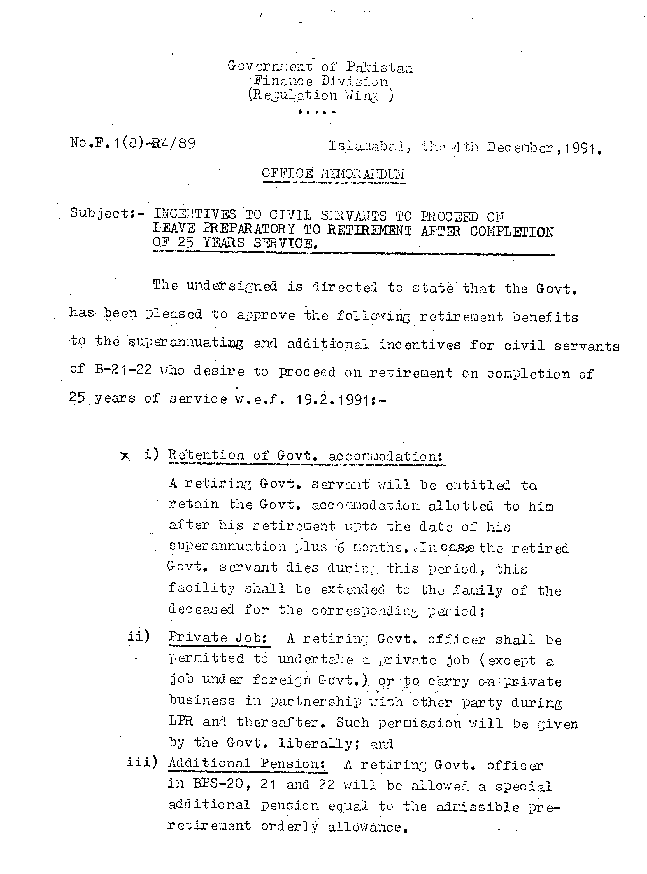 Incentives To Civil Servants Proceed on Leave Preparatory To Retirement 1991-(Page-1)