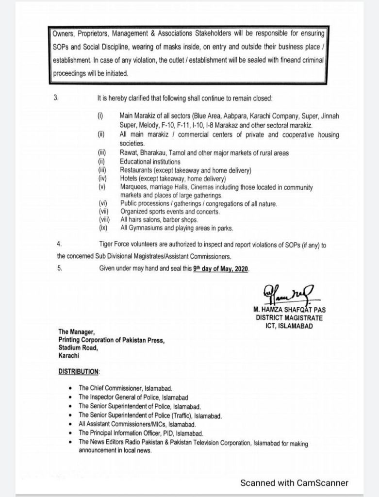 Lockdown in Islamabad Extended Till 31st May, 2020 (Page-2)