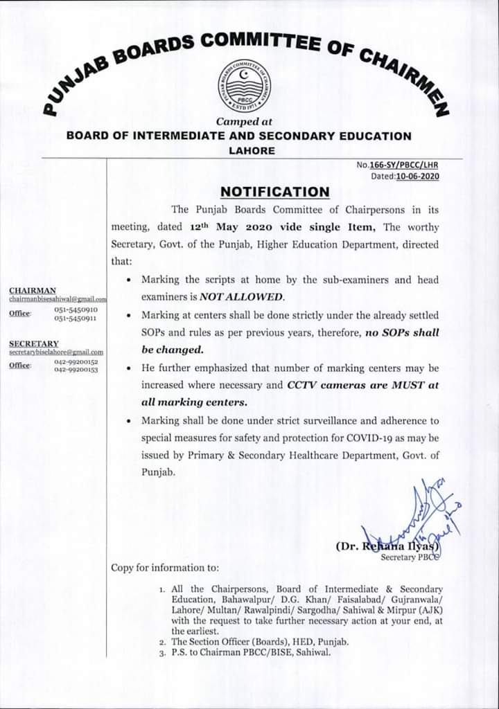 BISE Lahore Marking Duty 2020