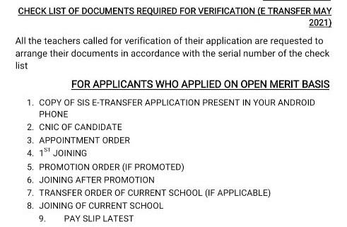 E-Transfer Checklist 2021