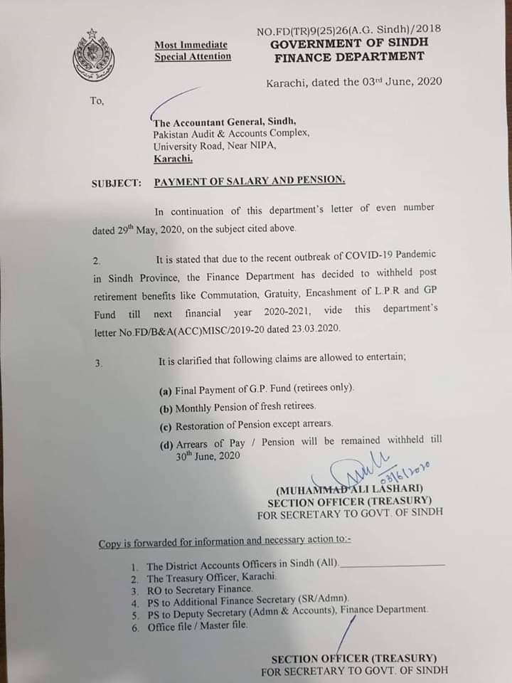Sindh Govt Withhold Retirement Benefits Till 2021