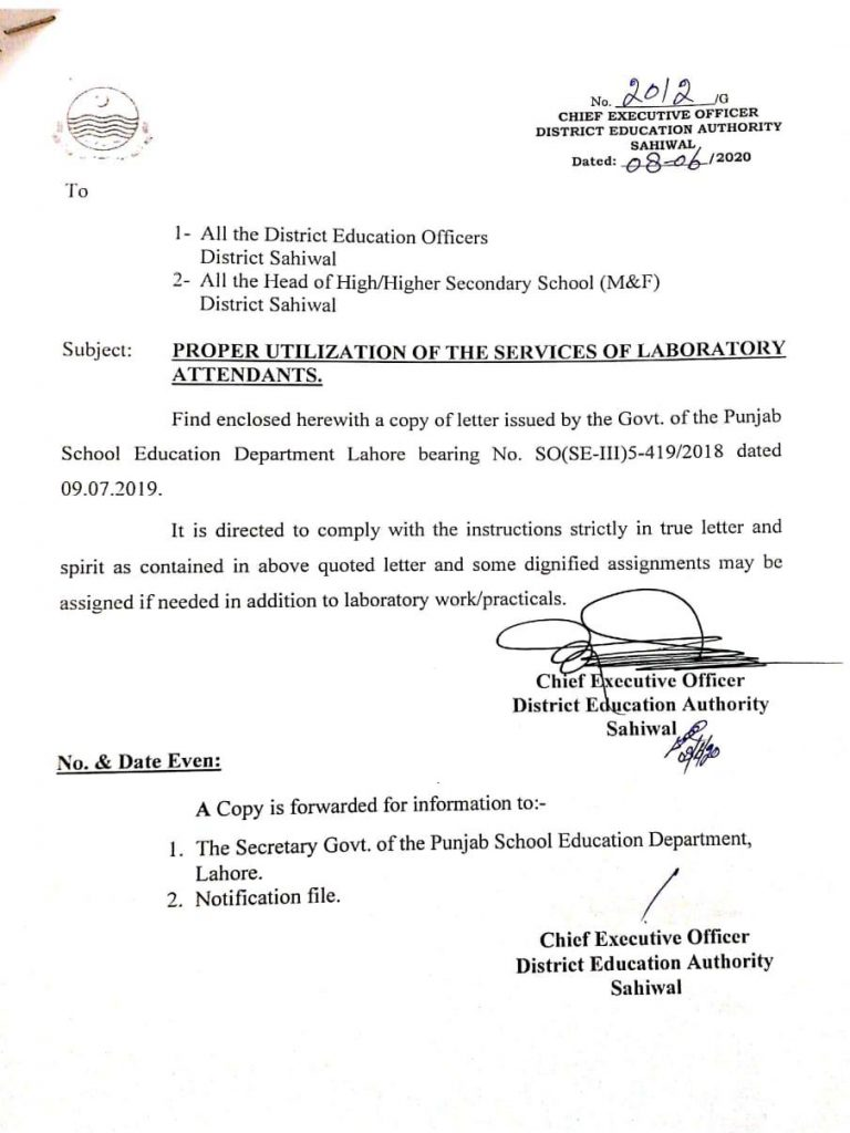Utilization of Laboratory Attendants 2020