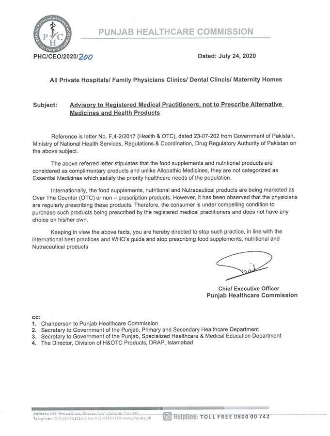 Advisory To Registered Medical Practitioners Not to Prescribe Alternative Medicines and Health Products